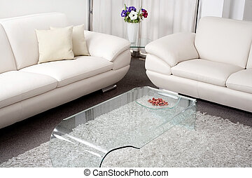 Modern white leather couch in living room