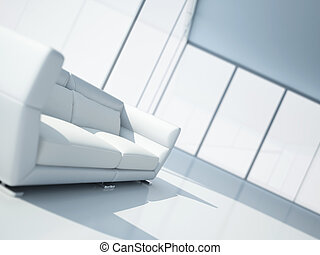 modern white leather sofa in a light interior with large windows
