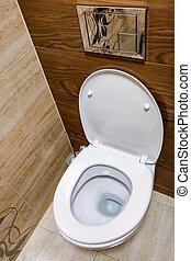 Modern white plain clean toilet bathroom. House