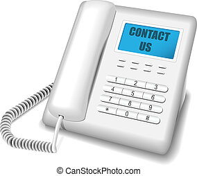Modern white telephone - Vector illustration of modern white...