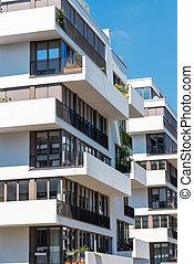 Modern white townhouses in Berlin