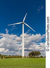 Wind turbine - Modern Wind turbine front view on a cloudy...