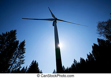 modern wind turbine in front of the evening sun