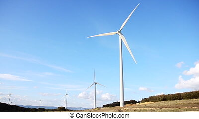 modern wind turbines generating sustainable energy .