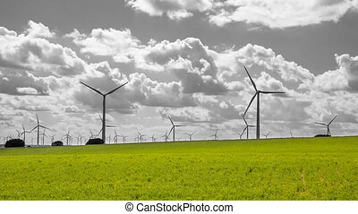 Modern Wind turbines large array, unreal gray sky, spring time