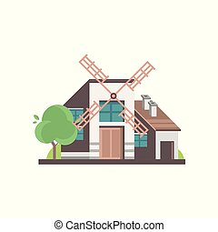 Modern windmill building, ecological agricultural manufacturing vector Illustrations on a white background