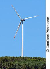 modern windmill in forest