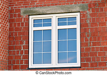 Modern window in building house