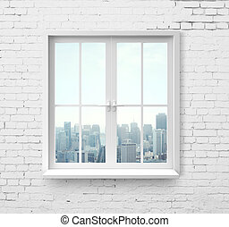 window with skyscraper view - Modern window with skyscraper...