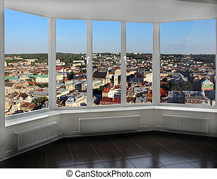 modern window with view of Lviv from above