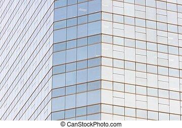 Modern windows of building in city.