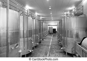 Modern winery fermenting process - Winemaking industrial...