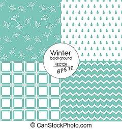 Modern winter patterns in Blue.