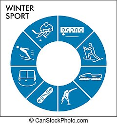 Modern Winter sport Infographic design template with icons. Tools of winter sports Infographic visualization in bubble design on white background. Creative vector illustration for infographic