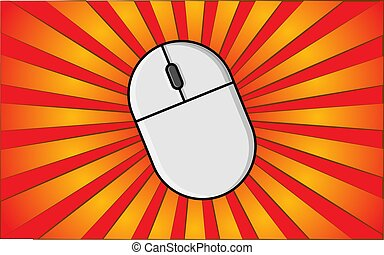 Modern wireless computer mouse for the Internet on a background of abstract red rays. Vector illustration