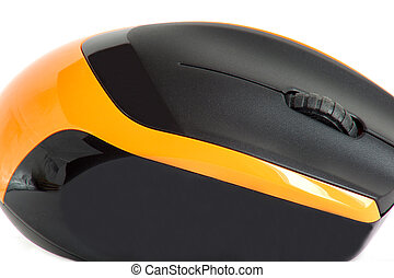 Modern wireless computer mouse isolated on a white background.