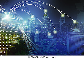 Modern wireless connection technology in smart city. Closeup dots globe with connection lines and dots over high building in business center city at night.