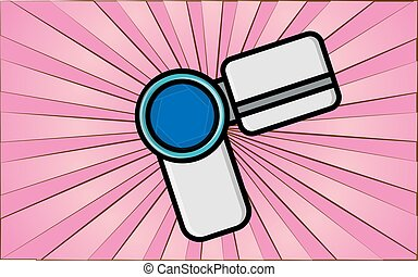 Modern wireless digital video camera for the Internet and blog on a background of abstract pink rays. Vector illustration