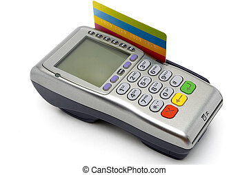 POS-terminal with credit card inserted - Modern wireless...