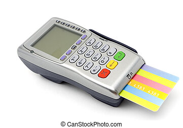POS-terminal with credit card inserted