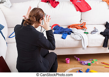 Modern woman can't stand a house mess - Young active woman...