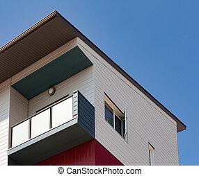 Modern wood clad condo building exterior detail