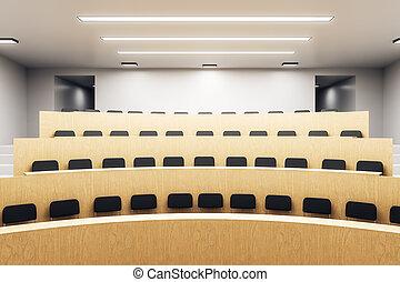 Modern wooden auditorium interior