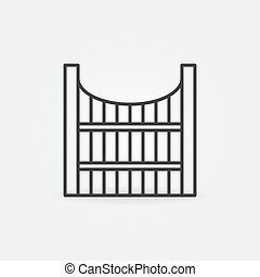 Modern Wooden Fence outline vector concept icon