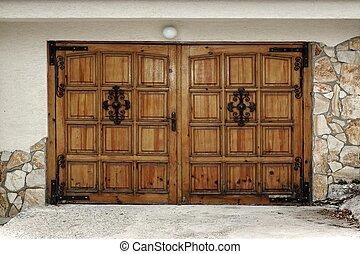 Modern Wooden Gate In Old Style - Modern Garage Or Yard ...