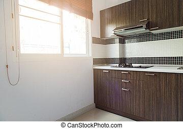 Modern wooden kitchen clean interior design