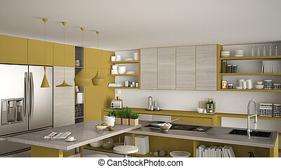 Luxurious white kitchen cabinet with cooking island close stock
