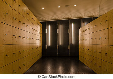 Modern Wooden locker in Museum.