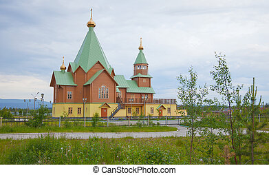 Modern wooden orthodox Christian church