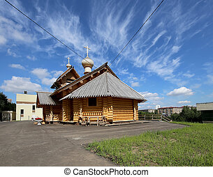 Modern Wooden Orthodox church in Moscow, Russia