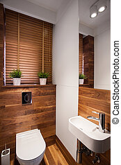 Modern wooden restroom - Modern wooden small restroom with...