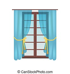 Modern Wooden Window, Colorful Vector Illustration