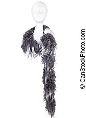 Modern woollen Scarf on a white Doll head isolated on white Background