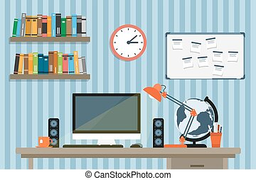 modern workplace - flat style illustration of moder...