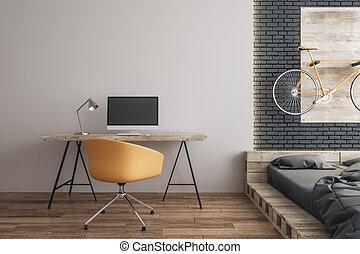 Modern workplace in bedroom