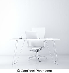 Modern workplace in the office with white wall and table