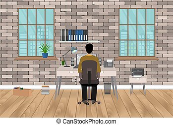 Modern workspace design in hipster style with man, working on a laptop. Home workplace interior in living room.