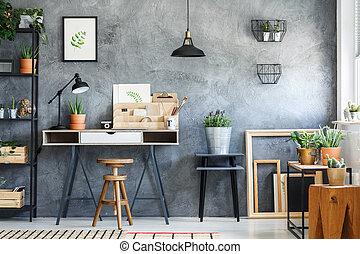Modern workspace interior of artist