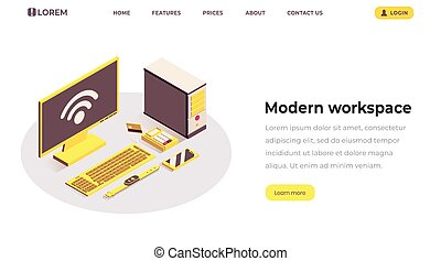 Modern workspace isometric landing page template. Internet of things, wifi wireless connection, telecommunication system. Portable devices and electronics at office workplace isolated