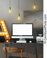 Modern workspace with computer and light bulbs