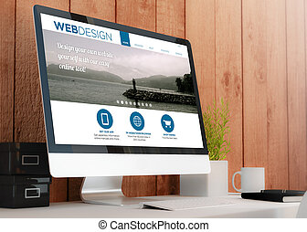 modern wooden workspace with computer showing web design website. All screen graphics are made up. 3D illustration.