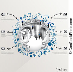 Modern world globe with application icon, modern template...