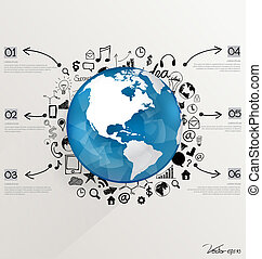 Modern world globe with application icon, modern template design. Vector illustration.