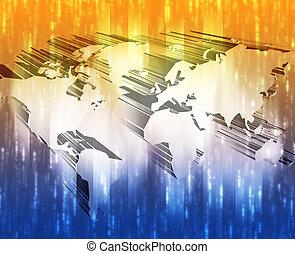 Modern world map with data transfer technology illustration