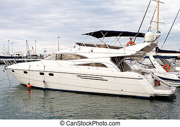 modern, yacht., meer