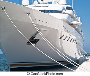 Modern yacht - modern luxury yacht in dock